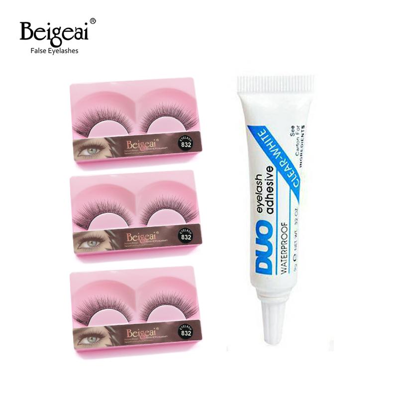 BEIGEAI 3 Pair/lot False Eyelashes Natural Long Fake Lashes Black False Eye Lashes Free Gift Duo False Eyelash Glue 11 Style(China (Mainland))