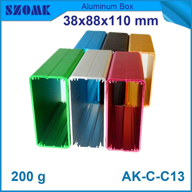 1 piece free shipping electronics enclosure 38(H)x88(W)x110(L) mm box aluminium blue little box circuit breaker box(China (Mainland))