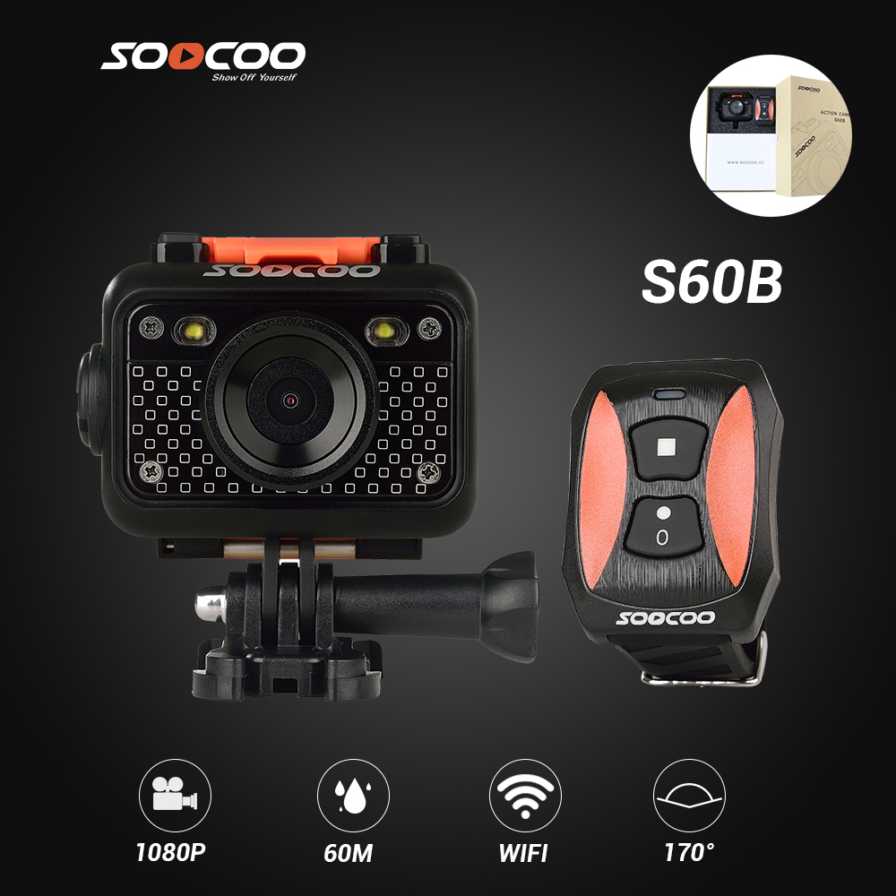 SOOCOO S60B Sport Action Camera Anti-Shock 60M Waterproof Wifi 1080P FullHD 70Degree Lens Wireless Remote Control