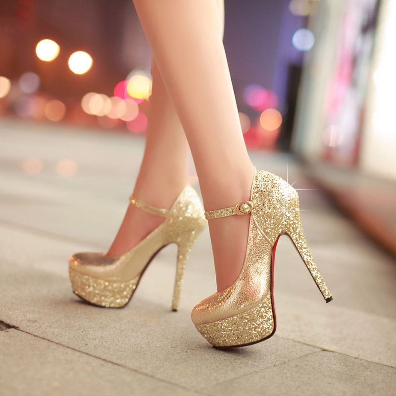2014 new spring high-heeled shoes wedding shoes platform fashion womens shoes pumps red bottom high heels glitter decoration<br><br>Aliexpress