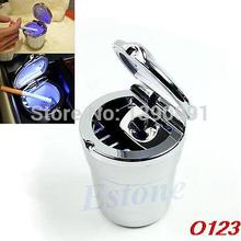 O123 Blue LED Light Portable Car Auto Travel Cigarette Cylinder Ashtray Holder Cup(China (Mainland))