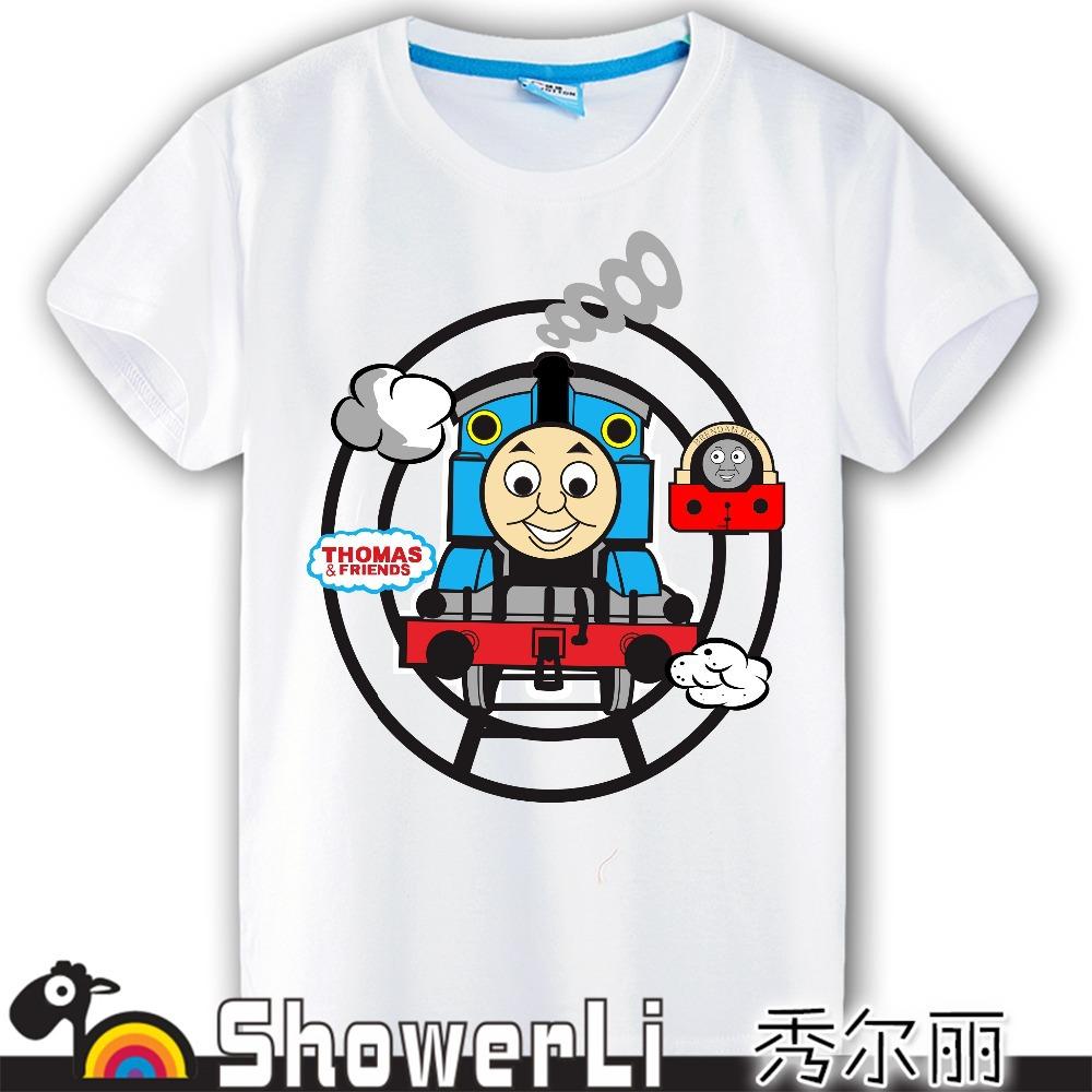 short sleeve children t shirts,kid boys girls wear Cartoon thomas and his friend train good quality showerli(China (Mainland))