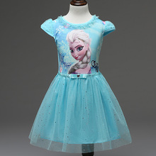 2016 Girl Anna Elsa Dress Toddler Girls Summer Princess Costume Kids Dresses For Girls Clothes Elsa Costume vetement fille GD003