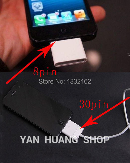 Free Shipping 1PCS 30pin To 8pin Adapter Charger And Sync Data for iPhone 5/5S/5C for iPad 4 Mini 2 Air