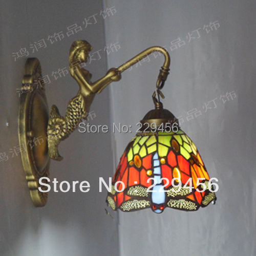 Tiffany Mermaid Wall Lamp Dragonfly Stained Glass Lampshade Sconce Bedside Lamparas Luminaria E27 110-240V(China (Mainland))