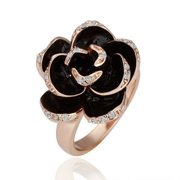 ZHOUYANG GP R089 Rose  Gold Plated Ring Health Jewelry Nickel Free White Gold Rhinestone Austrian Crystal  Element