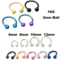 free shipping stainless steel Nostril Nose Ring circular piercing ball Horseshoe Rings CBR ring
