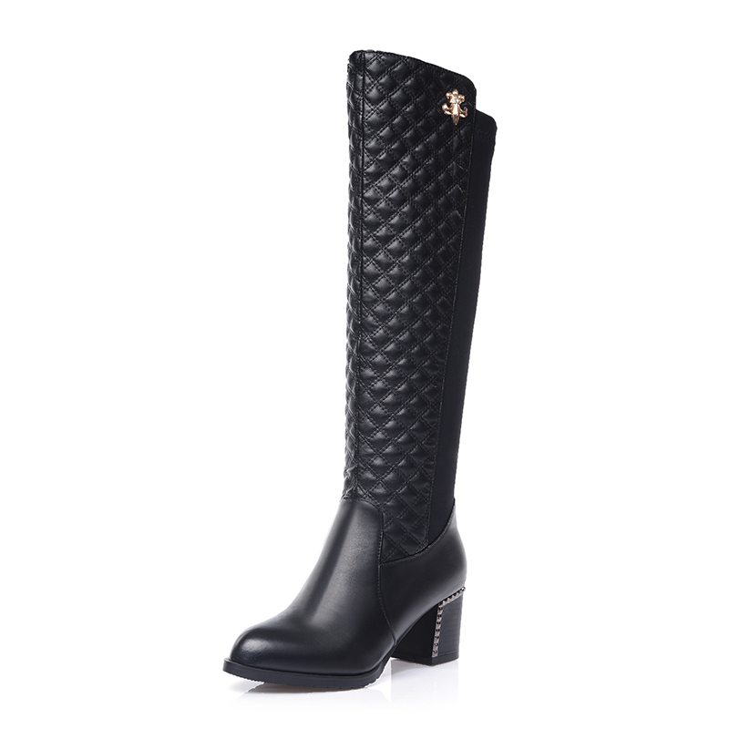 Soft PU leather Black Sexy Fashion Women Winter knee high boots,2014 new Woman Mid Square heels martin shoes botas femininas