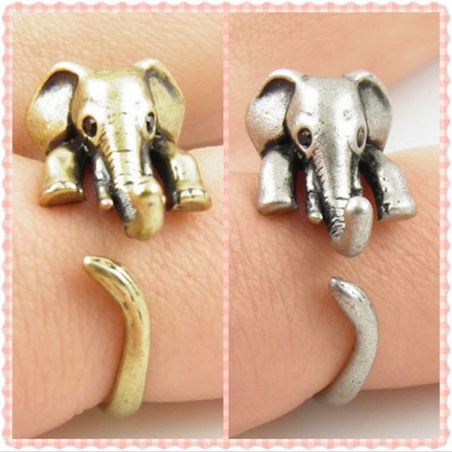 Старинный прекрасный анти-посеребренные золото цвет регулируемый слон обертывание ...