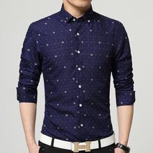 2016 Brand men shirt casual print men's shirts  mens  dress shirts fashion  5XL shirt man Navy white chemise homme(China (Mainland))
