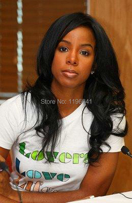 Kelly rowland black wavy indian remy hair lace front human hair wigs(China (Mainland))