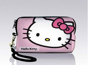 Neoprene Sleeve Pink Hello Kitty Style Digital Camera Pouch Bag Cover Phone Soft Case With Strap, Free Shipping(China (Mainland))