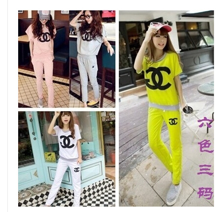 2014 summer cc fashion womens sports suits short-sleeve casual moletons femininas swearshirt + ladies sweat pants twinset women(China (Mainland))