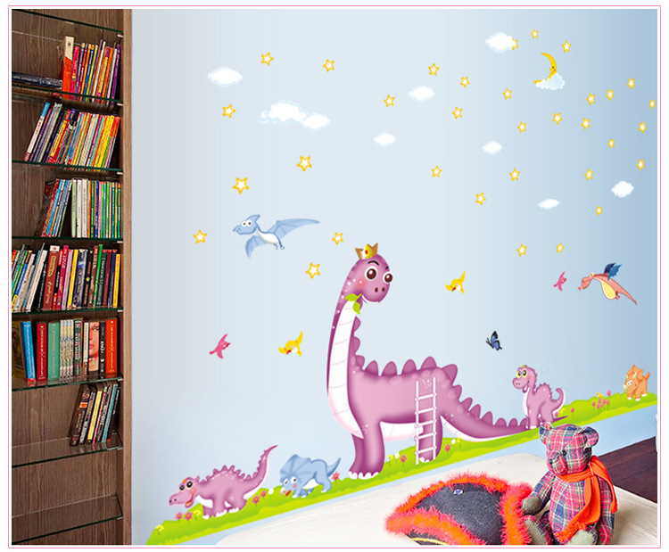 Cartoon decorative stickers room decoration wall sticker creative wall paper Jurassic dinosaur design wall decal kids room(China (Mainland))