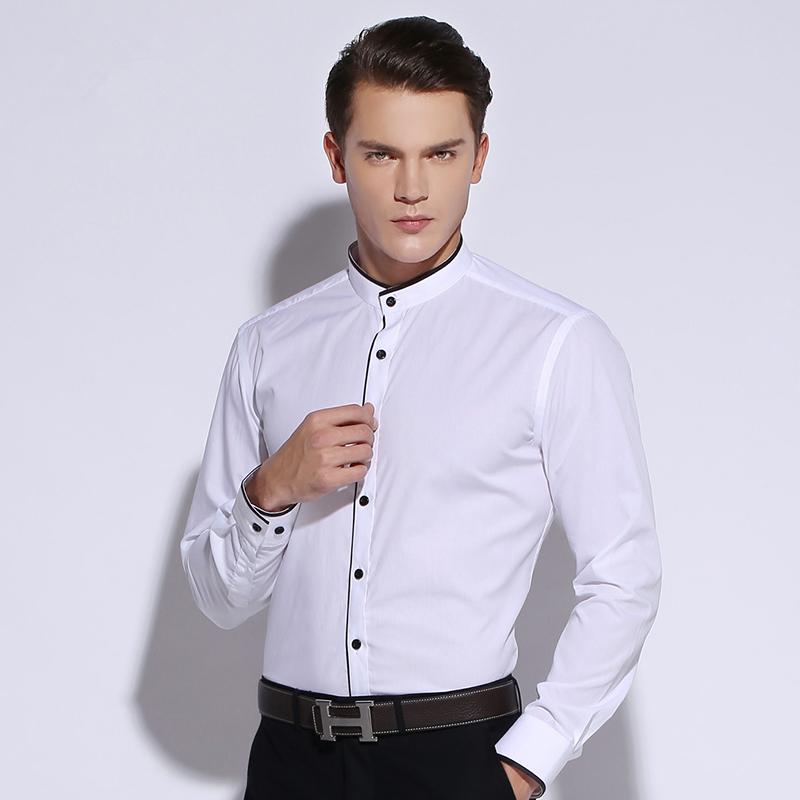 New 2015 fall men s banded collar shirt long sleeve non for No iron cotton shirts