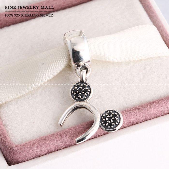 Sparkling Mickey Headband Dangle Charms 925 Sterling Silver Black Zirconia Pave Cartoon Pendants Fits Women Bracelets DIY(China (Mainland))