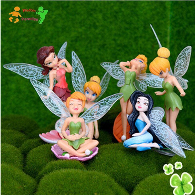 6pcs/set 7~10cm Tinkerbell dolls Fairy Adorable tinker bell Mini Toys Action & Toy Figures toys hobbies kids toys(China (Mainland))