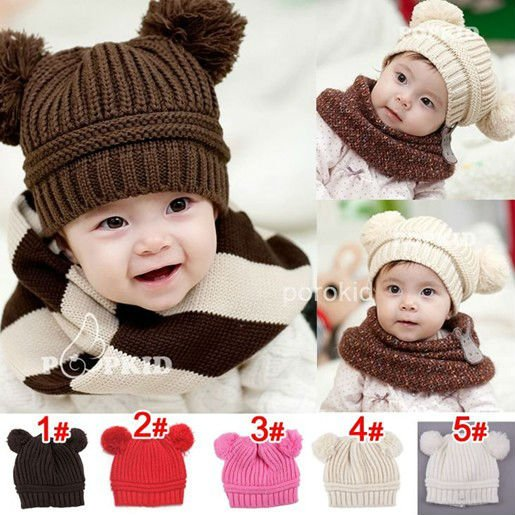 Free shipping Fashion baby Double ball Knitted cap infant hat Christmas gift Children's hats C183(China (Mainland))