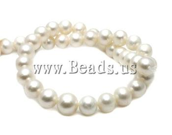 Free shipping!!!Round Cultured Freshwater Pearl Beads,Cheap Jewelry Wholesale, natural, white, High Replica, 12-13mm