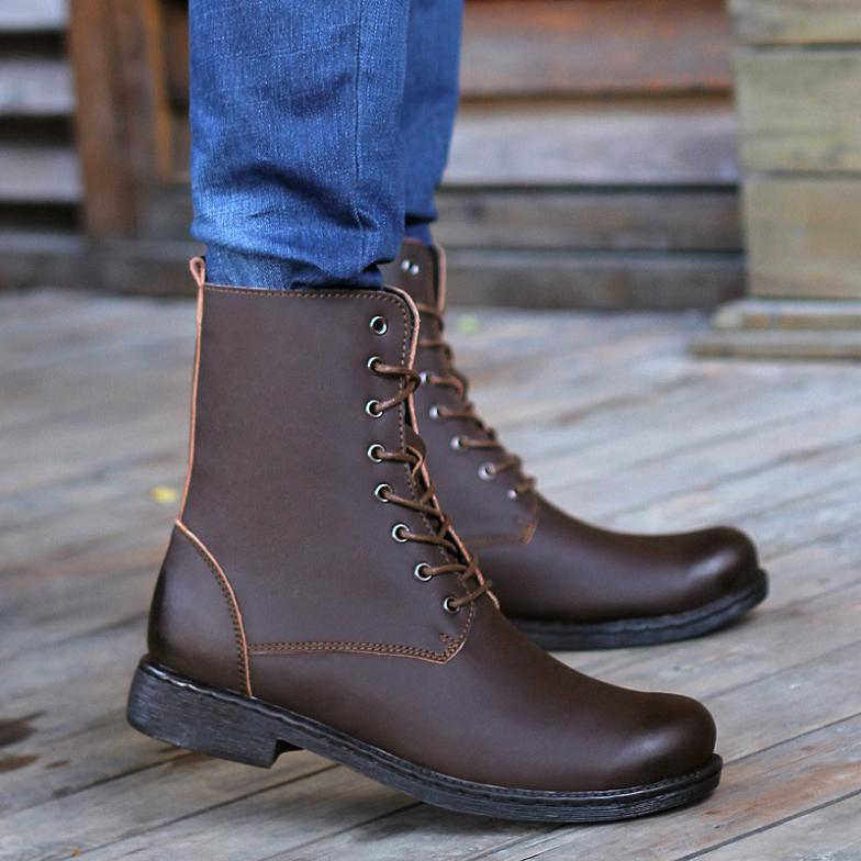 Top quality !Genuine Leather Men Boots 2014 Outdoor Boots warm Snow Boots with plush waterproof Tooling military Boots<br><br>Aliexpress
