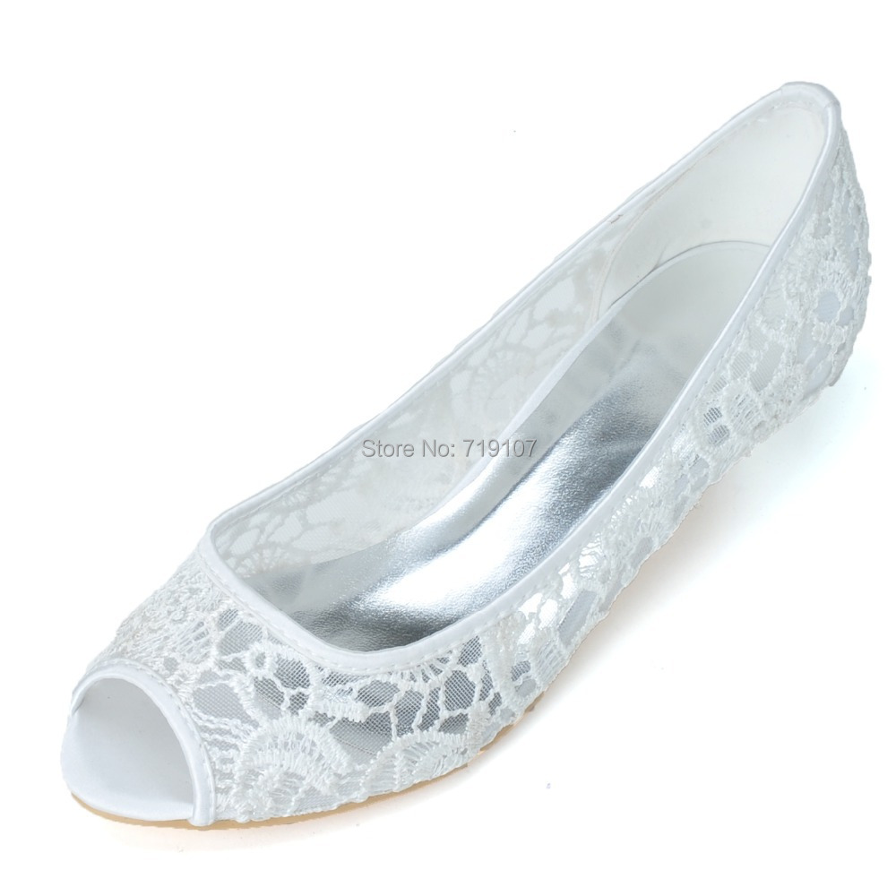 Elegant White Ivory Red Black Lace Bridal Wedding Shoes Round Toes Ballet Flats Ladies Womens