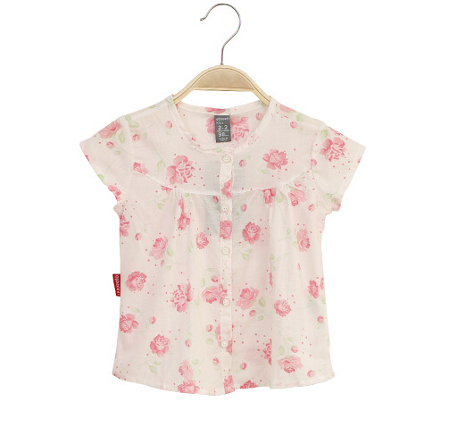 2015 New Summer Children's clothing girls Cotton Floral Shirts Blouses Button Pink 3-8T Fashion Princess Baby Kids Korean(China (Mainland))