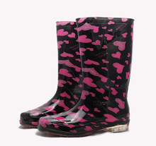 2015 summer Rain Boot Waterproof Overshoe Anti-skid Boots Female High-heeled Shoes Water Color Medium-Height Boots