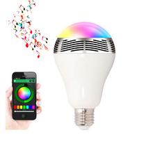 100 V – 240 V 6 W E27 altavoz Bluetooth inalámbrico RGB Color inteligente llevó la bombilla de la lámpara inicio iluminación Dimmable que cambia de Color APP