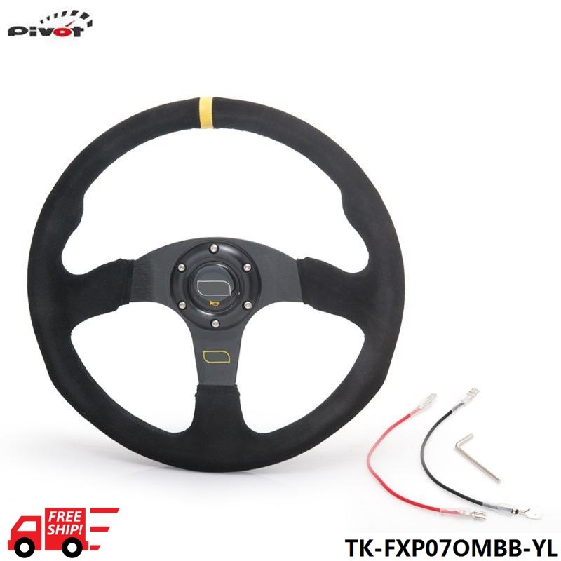 14 inch 350mm Racing Sport Car Steering Wheel Suede Leather Drifting Steering Wheel TK-FXP07OMBB-YL-FS(China (Mainland))