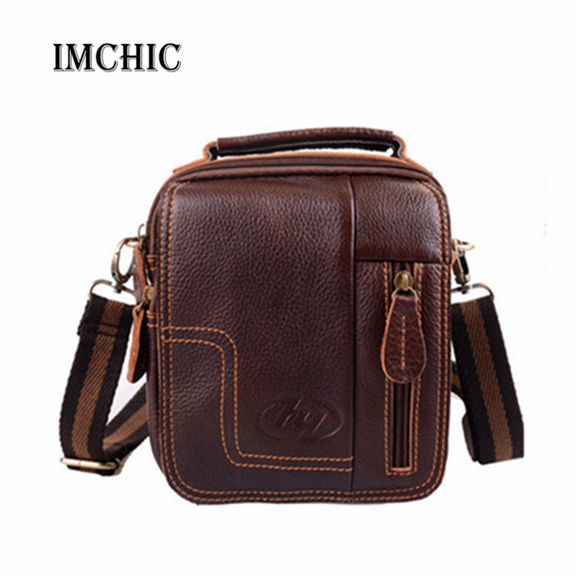 2016 100% Retro Genuine Leather Men Messenger Bags Vintage Luxury Cowhide Shoulder Cross Body Small travel Phone Waist Pack(China (Mainland))
