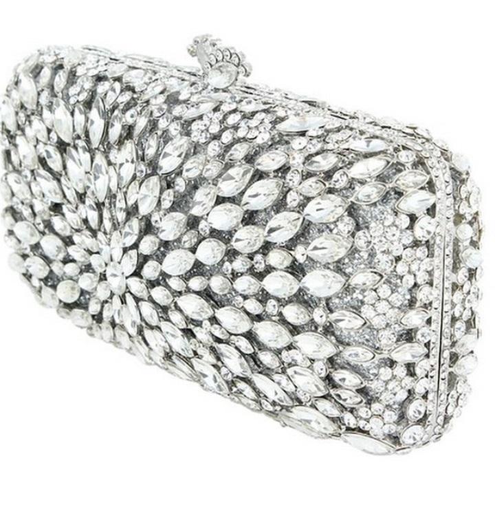 263S silver crystal Lady fashion party Wedding Bridal hollow Metal Evening purse clutch bag handbag<br><br>Aliexpress