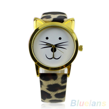 Cute Cat Face Shape preciosas niñas Dial oro borde de Color barba aleación de imitación correa de reloj de cuero para mujeres regalos 01NR