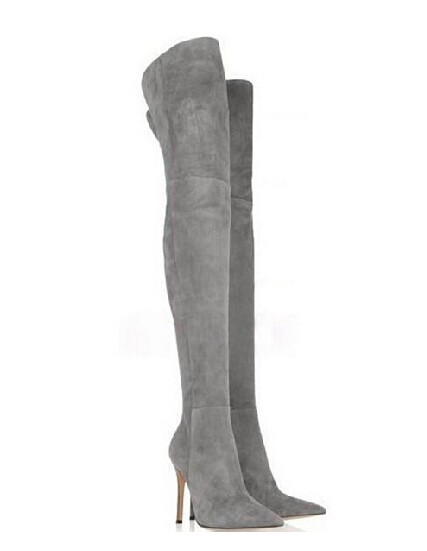 New Arrived women pointed toe thigh high bbots grey suede leather over knee boots slim thin sexy thigh high boots plus size 42(China (Mainland))