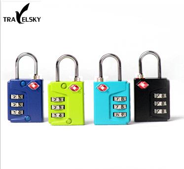 TRAVELSKY TSA Customs luggage lock anti-theft with three layer password metal locks 4 colors choice 1 pcs free shipping 13320(China (Mainland))
