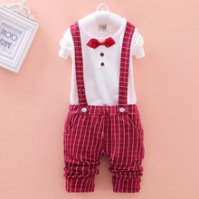 New 2015 Spring Fashion Baby Boy Clothes Gentleman Suit Long Sleeve tie T shirt Pants 2