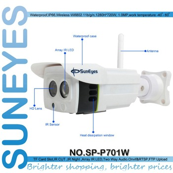 SunEyes SP-P701W ONVIF 720P 1.0 Megapixel HD IP Camera Wireless Outdoor P2P Plug and Play IR CUT  SD Card Slot