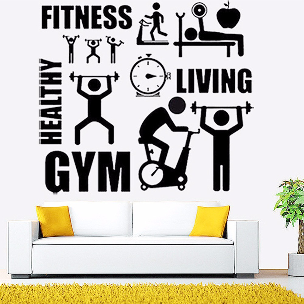 Exercise Stickers Gym Wall Decal Sticker Sport Motivation Fitness Gym Wall Mural art Decal Home Decoration A40(China (Mainland))