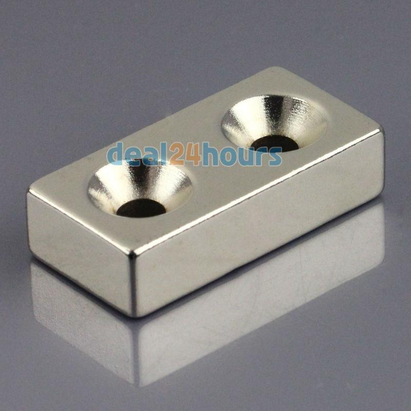 Гаджет  1pc N50 Super Strong Block Cuboid Neodymium Magnets 40 x 20 x10mm 2 Countersunk Hole 5mm Rare Earth Free Shipping! None Строительство и Недвижимость