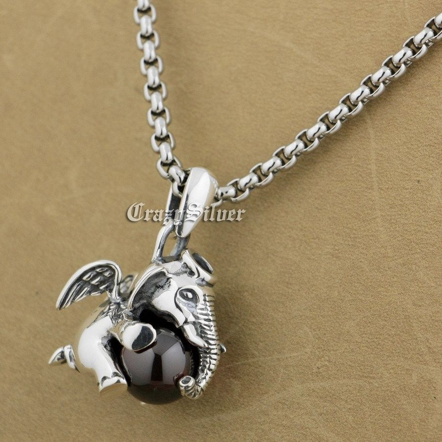 Здесь можно купить  925 Sterling Silver Lovely Dumbo Red CZ Stone Fashion Pendant 9S006 Stainless Steel Necklace 24 inch  Ювелирные изделия и часы