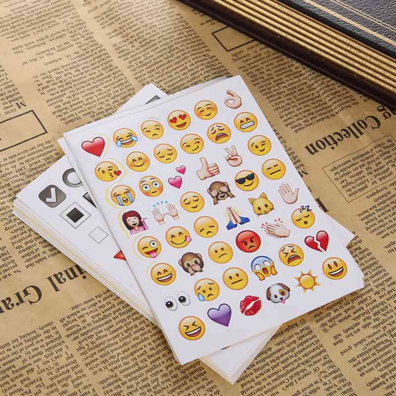 New 2016 Lovely Emoji Stickers Pack For Phone for notebook twitter instagram 912 Die Cut Sticker 19 Sheets / Pack(China (Mainland))