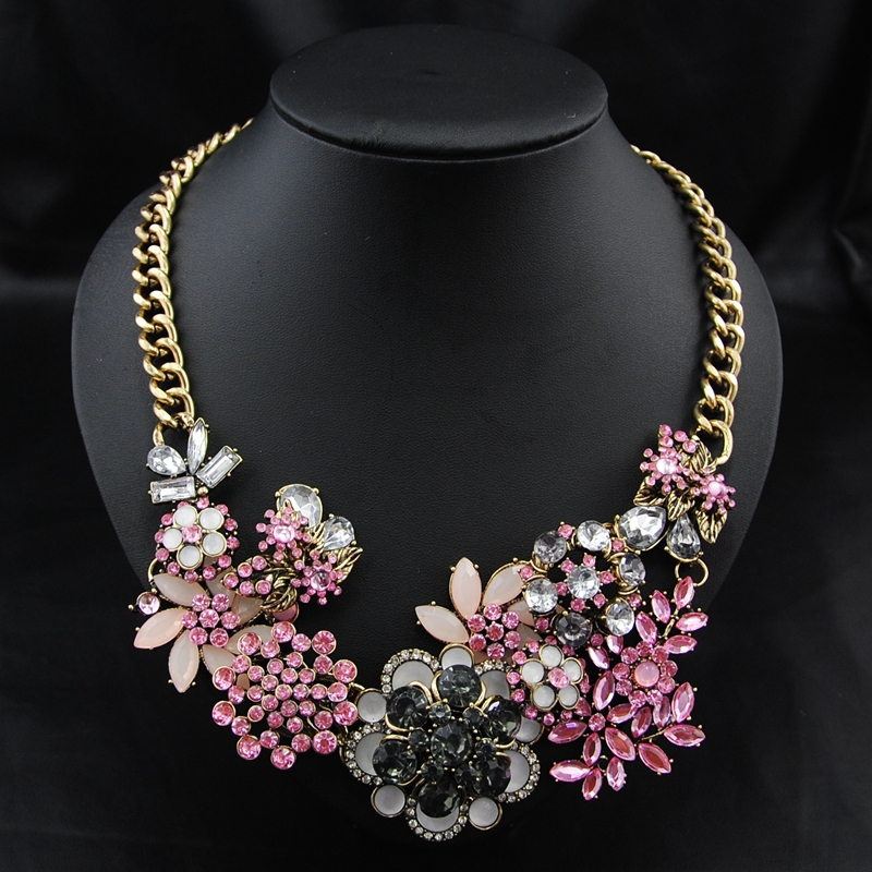 Wholesale 2014 New Arrival Brand Perfume women fashion Accessories Vintage Pink Rosary Choker Collar statement Necklace Jewelry(China (Mainland))