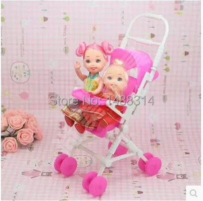 Free shipping New DIY Assemble Baby Carriage Stroller Trolley Doll Furniture Happy Family For Barbie For Kelly(China (Mainland))