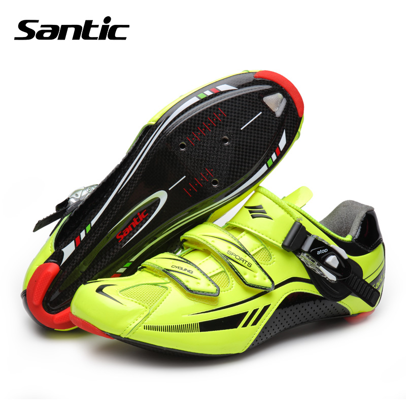Santic Men <font><b>Cycling</b></font> <font><b>Shoes</b></font> Road Bike <font><b>Shoes</b></font> Carbon Fiber Athletic Locking Racing <font><b>Shoes</b></font> Breathable&Ultralight Chaussure Velo Route