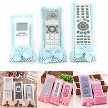 Hot ! 3pcs/lot 3 size Bowknot Design Dustproof TV Remote Control Case Air condition Remote Control Cover Textile Protective Bag(China (Mainland))