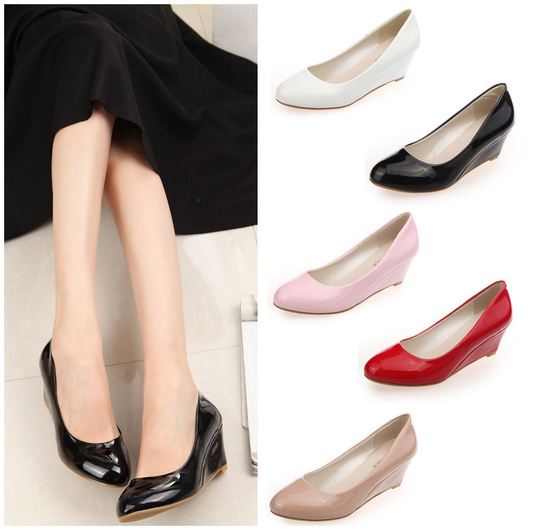 2014 New Summer Women Wedge Shoes Pointed Toe Patent Leather platform Pump Plus Size 35-40 - Christine Fashion Store store