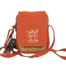 linen material orange color casual shoulder bag for women, small size flap single shoulder & crossbody bag(China (Mainland))