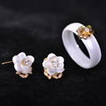 Luxury Ceramic Jewelry Sets Smooth Fine Earrings Rings Set 18K Gold Flower Finger Accessories Pin Stud