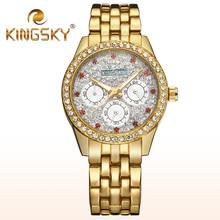 2015 Kingsky Diamond 3 Dials Gold Bracelet Watch Fashion Casual Lady Chain Wristwatch Red Rhinestone Clock