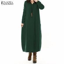 Fashion Autumn 2017 ZANZEA Women Cotton Linen Dress V Neck Long Maxi Dresses Long Sleeve Casual Loose Vestidos Plus Size S-5XL(China (Mainland))