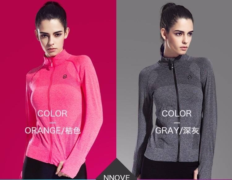 2016 Female Zip Sweatshirt Women Fashion Sports T-shirt Running Yoga Fitness Fast drying Girl Lady Fitness Clothing Workout (5)